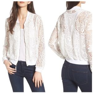 Ella Moss White Pixie Sheer Floral Bomber Jacket